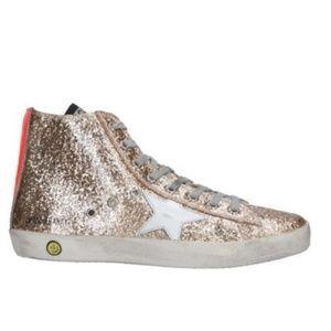 Golden Goose  Gold Sequin Hi-Top Sneakers NEW
